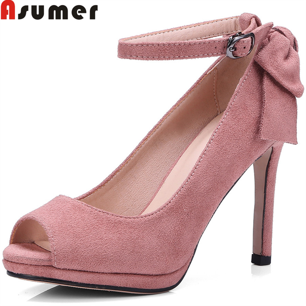 ASUMER black pink fashion 2018 new arrival shoes woman peep toe buckle shallow elegant pumps women shoes high heels shoes asumer 2018 summer new arrival women