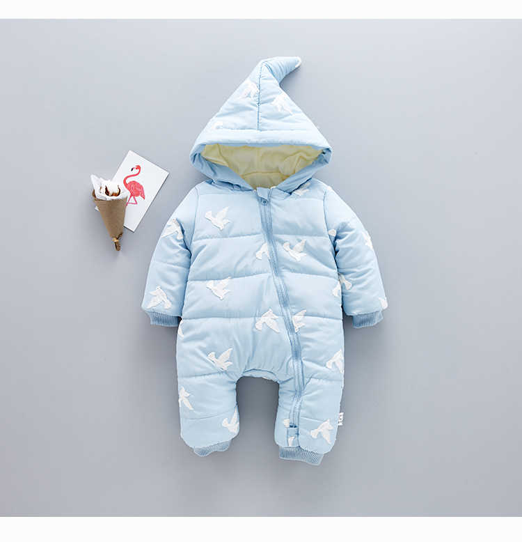 Baby Boys Rompers Long Sleeve Hooded Animals Lovely Girls Romper Winter Thicken Warm Newborn Cotton 1-3t Girl Clothing 4rr185 winter baby rompers organic cotton baby hooded snowsuit jumpsuit long sleeve thick warm baby girls boy romper newborn clothing