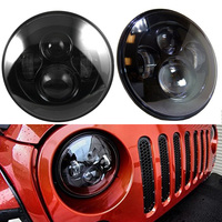 Funlight 2Psc Black 7 Round Headlight Led H4 With High Low Beam For Jeep Wrangler 97