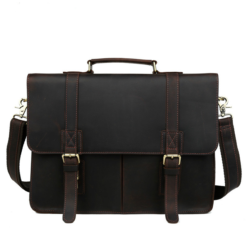 Aolen Vintage Men's Genuine Leather Briefcase Big Business Handbag Cowhide Laptop Handbag Briefcase Hot Messenger Bag Fast Post