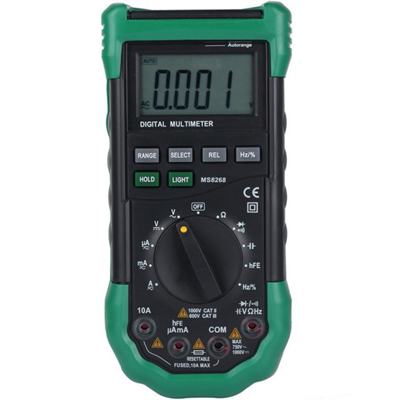 MS8268 Digital Multimeter Auto Range Protection AC/DC Ammeter Voltmeter Ohm Frequency Electrical Tester Diode Detector