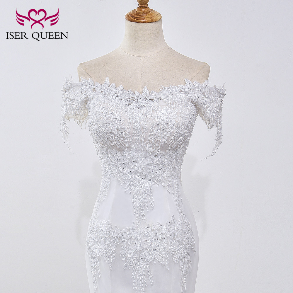 Pearl Appliques Court Train Lace Up Mermaid Wedding Dress 4