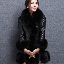 2018 New Women Winter Faux Fur Coat Long Slim Overcoat Warm PU Leather Patchwork Faux Fox Fur Collar Outerwear Femininos Jacket faux fur collar zip up pu leather padded coat