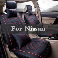 1set Pu Leather Car Seat Cover Striped Cushion Cover For Nissan Qashqai Crossover Sunny Stagea Rogue Sentra Safari