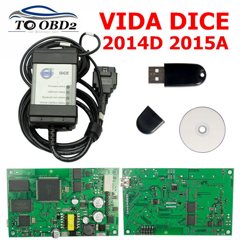 Newest For Volvo Vida Dice 2015A 2014D Full Chip Car Diagnostic Tool Multi Language Dice Pro For Volvo Dice Scanner Green Board on