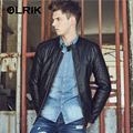 OLRIK 2016 Brand Men Winter PU Leather Jackets Coat Punk Style Casual Padded Jacket Outerwear Suede Leather Jacket M-3XL