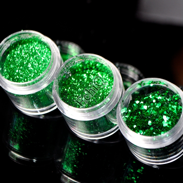 Manicura brillo Polvos de maquillaje shinning profundo verde ...