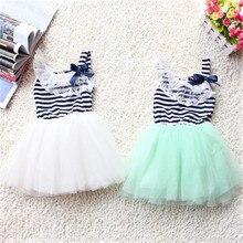 Новые модные летние Детские бальное платье для девочки Кружево + хлопок Материал 3 цвета возраст От 0 до 2 лет