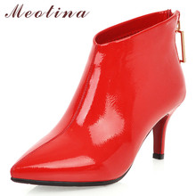 все цены на Meotina Women Fall Ankle Boots Patent Leather Crystal Thin High Heel Short Boots Zipper Pointed Toe Shoes Lady Winter Size 33-43 онлайн