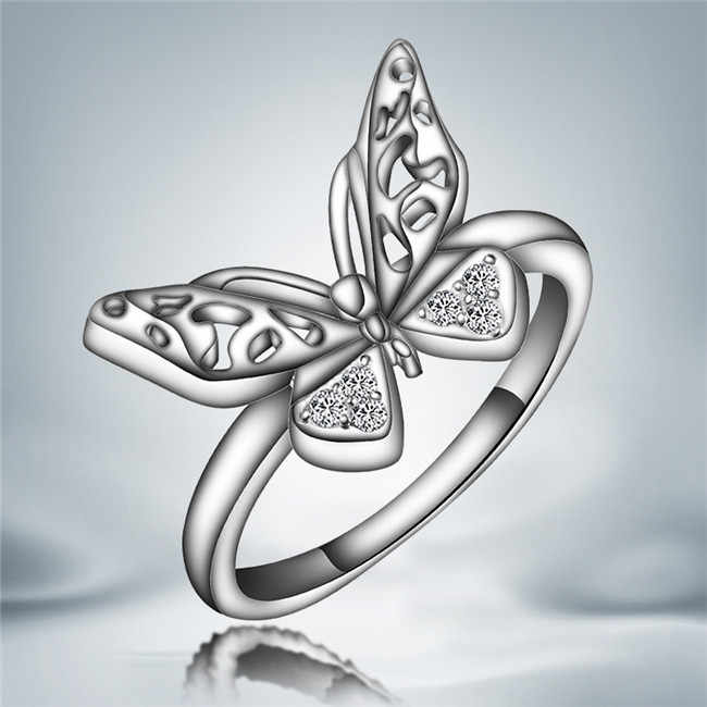 Classic Hollow Butterfly Engagement ring Fashion Jewelry Silver Hollow Butterfly Ring For Women Loving Gift