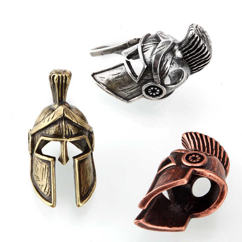 Sparta Mũ Bảo Hiểm Hạt Kim Loại Cổ Thép, Vàng Hoặc Vàng Đồng Quyến Rũ Cho Vòng Tay Sinh Tồn Paracord Phụ Kiện Sinh Tồn, Tự Làm Mặt Dây Chuyền Khóa