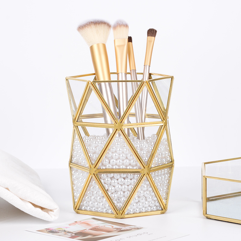 glass makeup brush holder gold three angles prismatic pearls storage organizer box
