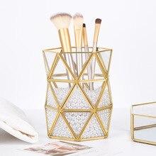 glass makeup brush holder gold three angles prismatic pearls storage organizer box