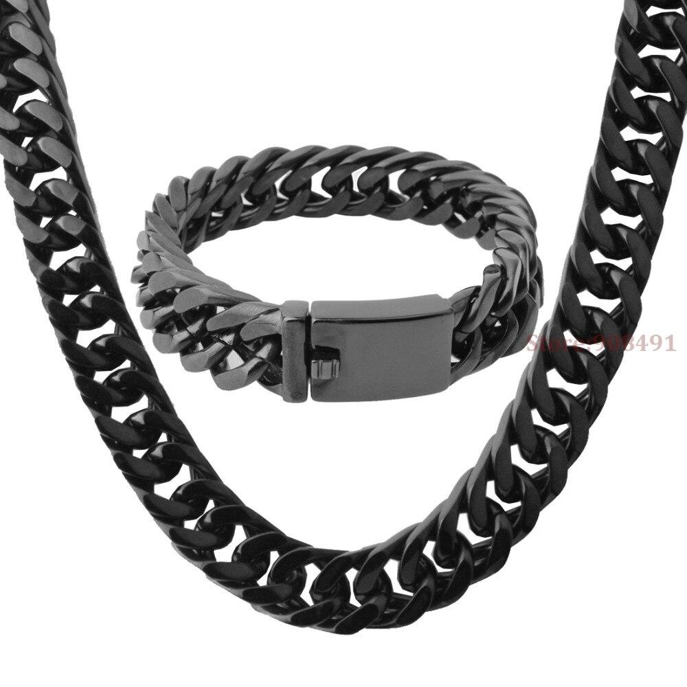 Hommes garçons Cool bijoux HIp Hop couleur noire en acier inoxydable chaîne collier Bracelet ensemble 15mm8. 66