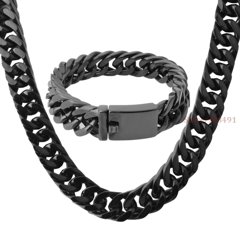 Mens Boys Cool Jewelry HIp Hop Black Color Stainless Steel Chain Necklace Bracelet Set 15mm8.66