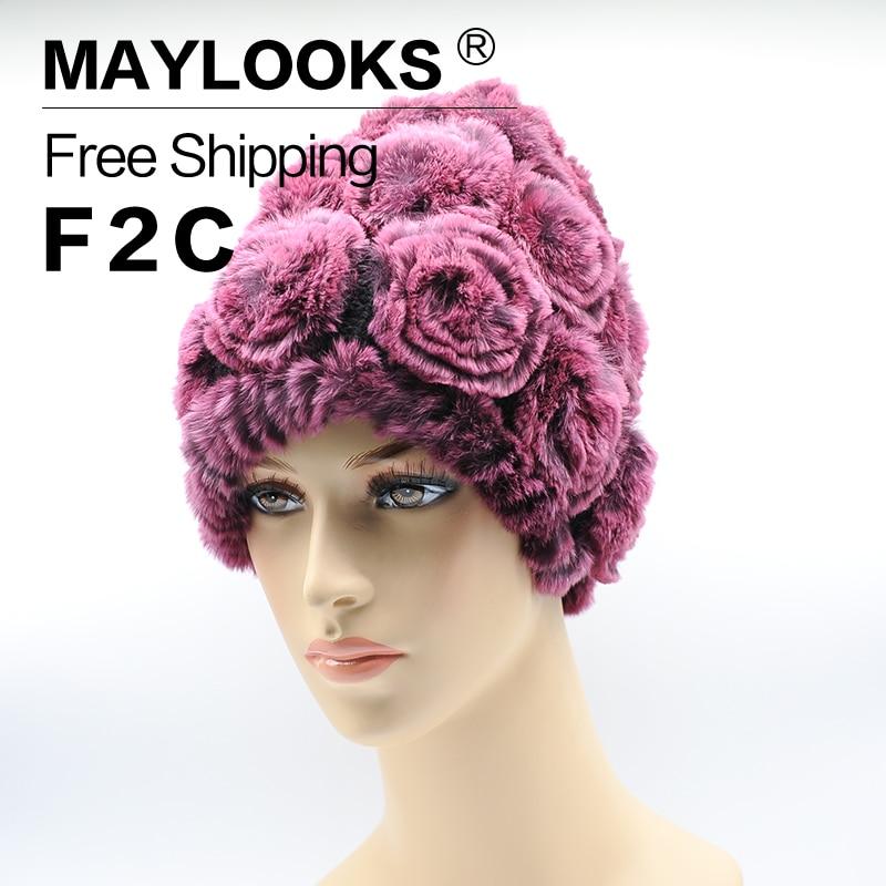 Winter Fur Hat Rabbit Fur Women Warm Fashion Lady Beanie Hat Handmade Knitted Hat Headwear Gorro Caps Girls Fur Cap CS47