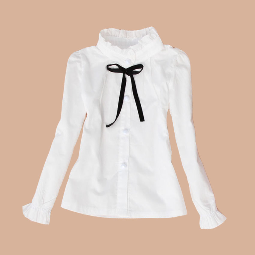 Big Kids School Uniform Cotton Format Teenage Baby Clothes Turn-Down Collar Full Sleeve White   Blouses   &   Shirts   Girls Top 2-15 Y