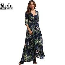SheIn Long Floral Maxi Dress Boho Long Dress Elegant Beach Navy Floral Print Half Sleeve Button Front A Line Shirt Dress