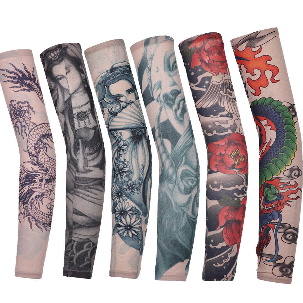 1Pcs Hot Anti-Sunshine Fashion Mannen en Vrouwen Tattoo Arm Been Mouwen Hoge Elastische Nylon Halloween Party Dance party Tattoo Mouw