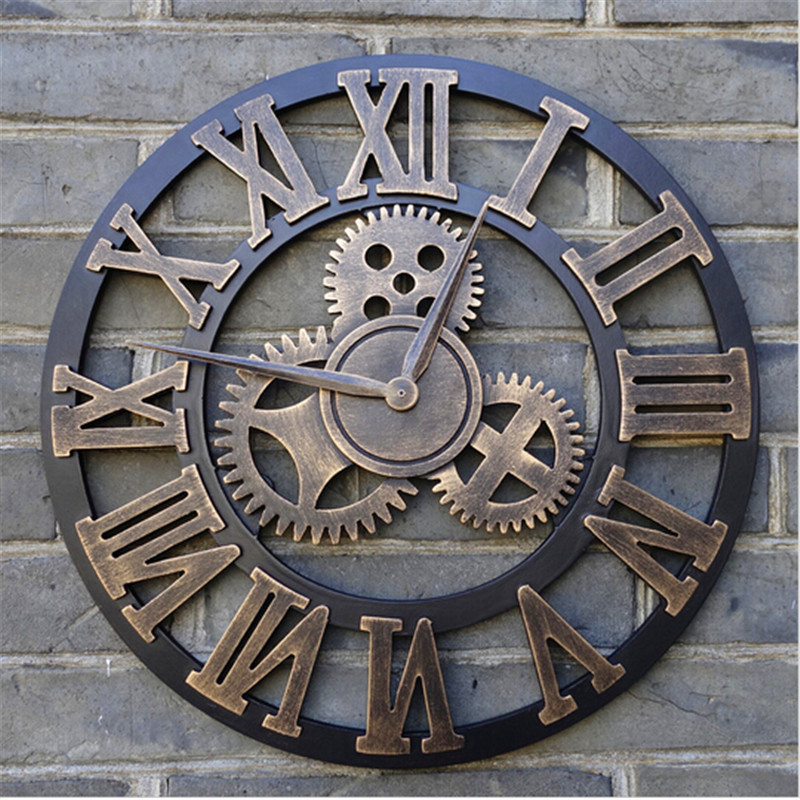 handmade oversized 3d retro rustic decorative luxury art big gear wooden vintage large wall clock on