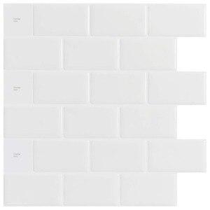 Image 1 - Kitchen Backsplash Tiles Peel and Stick White Brick Subway for Kitchen, Bathroom 10 Pieces 12x12