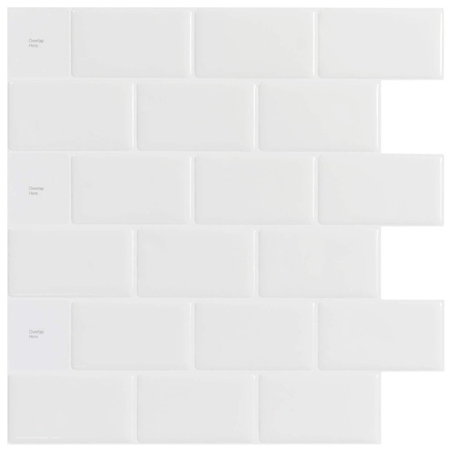 Kitchen Backsplash Tiles Peel and Stick White Brick Subway for Kitchen, Bathroom 10 Pieces 12x12