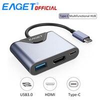 EAGET 3 Em 1 USB HUB C para USB 3.0 Tipo-C Adaptador HUB Splitter HDMI Conversor Multifunction HD Display Para Macbook Laptop telefones