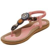 2017 Fashion Bohemia Women Summer Flat Sandals Bohemia Women Bead Flip Flops Shoes Sandles Ladies Elastic