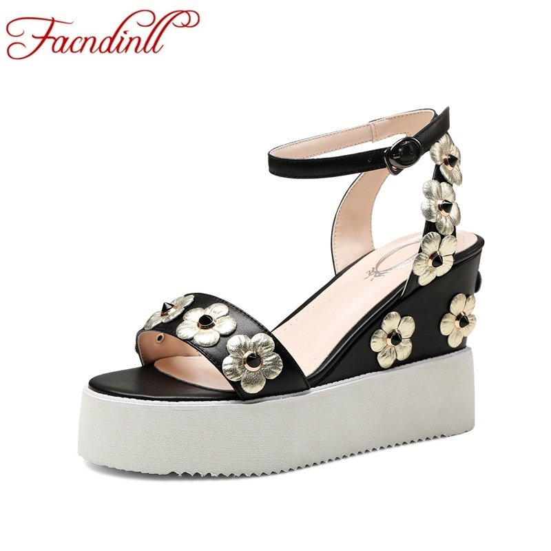 FACNDINLL women sandals summer high qulaity flower embroidery platform sandals woman sweet party wedges shoes leather sandals facndinll new women summer sandals 2018 ladies summer wedges high heel fashion casual leather sandals platform date party shoes