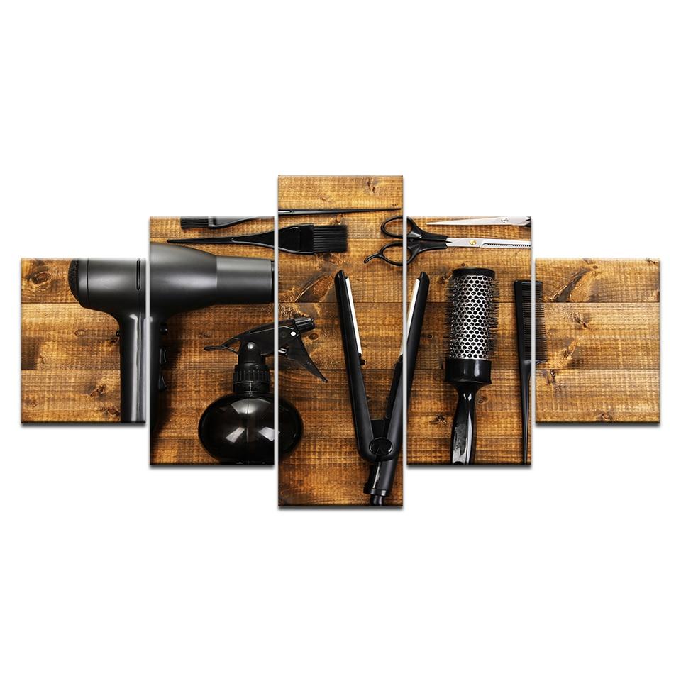 5 Panelen Kappers Gereedschap Schaar Kam Beauty Styling Tool Hd Print Canvas Schilderen Op Wall Art Foto Barbershop Home Decor