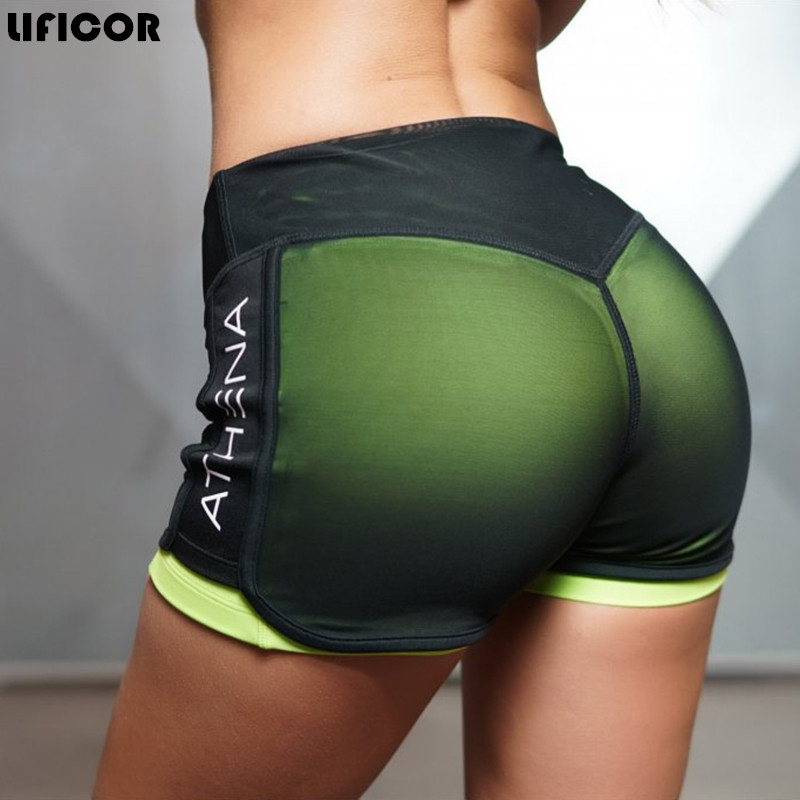 цена Sexy 2 In 1 Sport Fitness Running Yoga Shorts for Women Athletic Shorts femme Running Shorts Fitness Workout Clothes