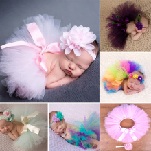 Top Sale Baby Girl Tulle Tutu Skirt and Flower Headband Set Newborn Photography Props Baby Birthday Gift