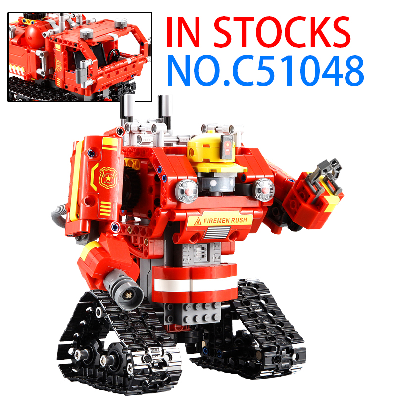 Creative For legoing Remote Control Technic Fire RC Intelligent Robot 2iN1 Building Block Fires Truck technic Classic Toys