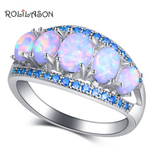 ROLILASON Special desgin White Fire Opal blue crystal Fashion Jewelry for Women 925 Silver RingsOR906