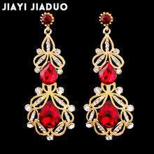 Jiayijiaudo Long Crystal Drop Earrings for Women Vintage Earrings Flower Bohemian Style Jewelry Wedding Accessories(China)