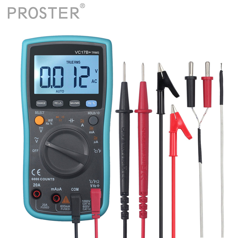 Proster 6000 Counts Multimeter Auto/Manual Ranging TRMS Backlight With Test Leads K-Type Thermocouple AC/DC Ammeter Voltmeter 6000 counts clamp multimeter backlight auto manual range ac dc voltmeter ammeter ohmmeter thermometr temperature tester
