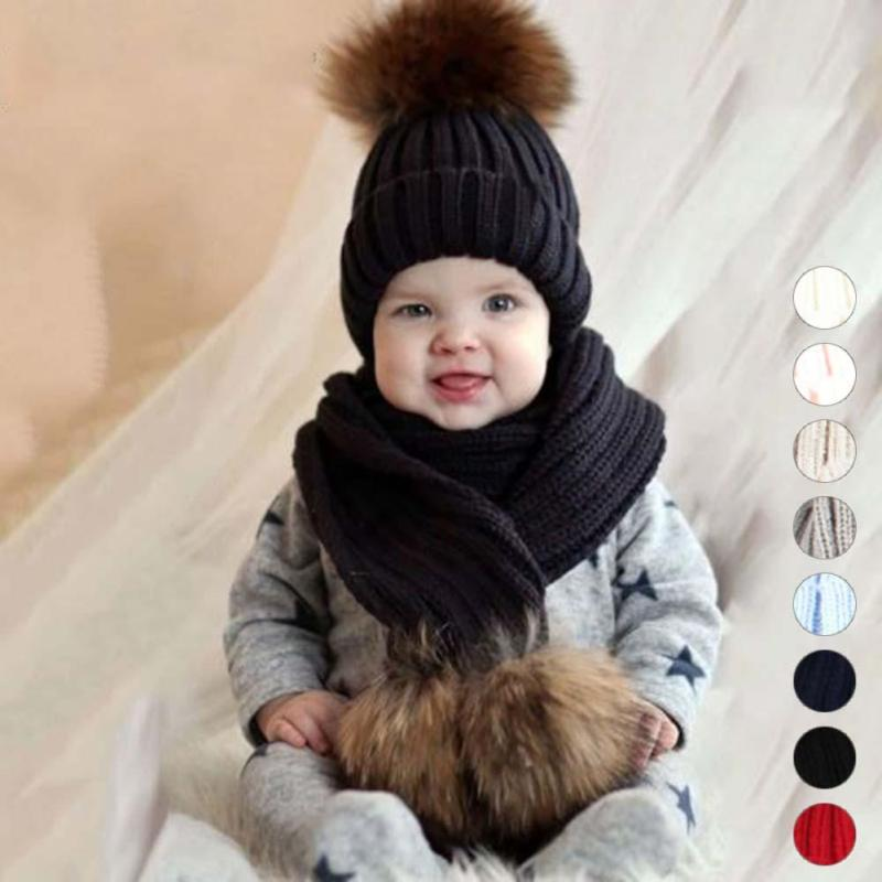 Children's hat with pompon Winter Warm Chunky Thick Knit Beanie Hats and Scarves Real Fur Pom Pom Hat Scarf Set for Child R4 black and white stripe pattern pullover shirt