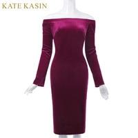 Kate Kasin Bodycon Dress Long Sleeve Summer Women Pencil Dress Velvet Fabric Hips Wrapped Elastic Off