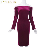 Kate Kasin Bodycon Dress Long Sleeve Summer Women Pencil Dress Velvet Fabric Hips Wrapped Elastic Off