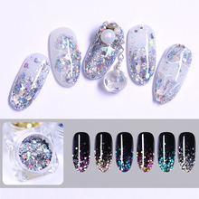 1g/Box 3D Holographic Nail Sequins Colorful Mixed Size Glitter Nail Fl