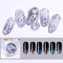 1g/Box 3D Holographic Nail Sequins Colorful Mixed Size Glitter Nail Flakes DIY Nail Art Decoration Tips in Box for Nail Design