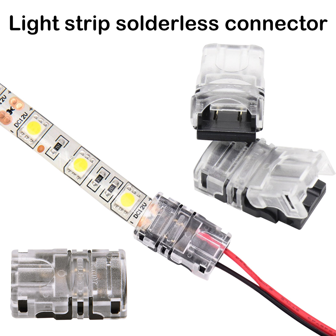 10mm 5050 LED Strip Connector 2 Pin for Waterproof Single Color Tape Light Snap Splicer10mm 5050 LED Strip Connector 2 Pin for Waterproof Single Color Tape Light Snap Splicer