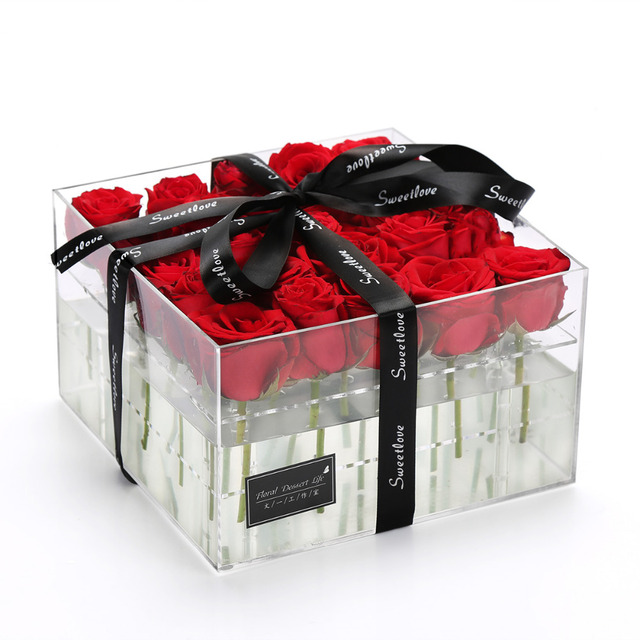 Aliexpress.com : Buy Acrylic Flower Box Rose Keep Box