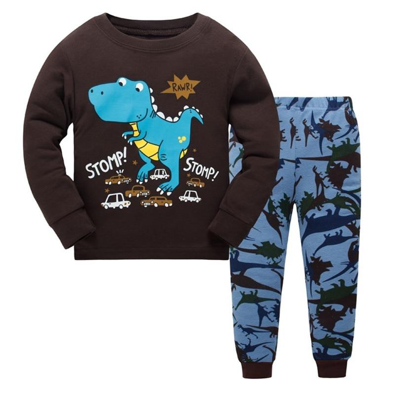 Children   pajamas     set   kids Cartoon dinosaurs sleepwear 100% cotton Girls boys cozy nightwear Family Clothing pyjamas size 3-8Y