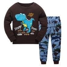 H KONG BABY 100 cotton children pajamas set font b kids b font Cartoon dinosaurs sleepwear