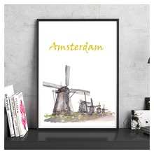 Amsterdam Windmill Famous City Landmark Hand Painted Coated Paper Vintage Poster Wall Sticker Bar Cafe Living Room House Decor