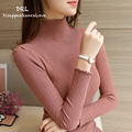 DRL Brand Winter  Women's  Turtleneck sweater basic pullover shirt slim sweater solid color sweater long-sleeve top