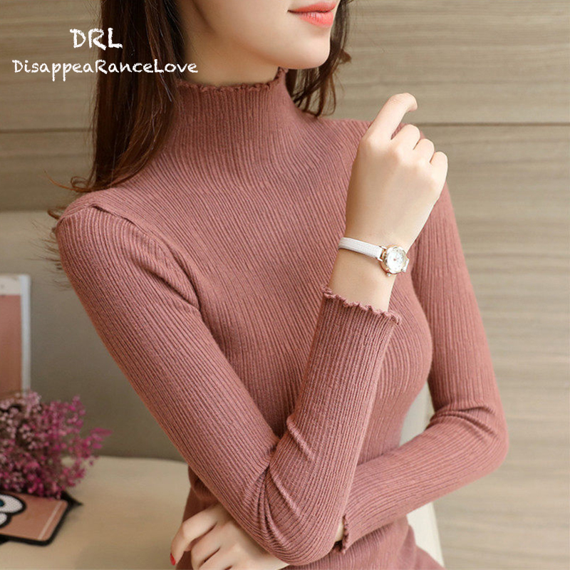 DRL Marca Invierno de Las Mujeres de Cuello Alto suéter camisa básica del suéter