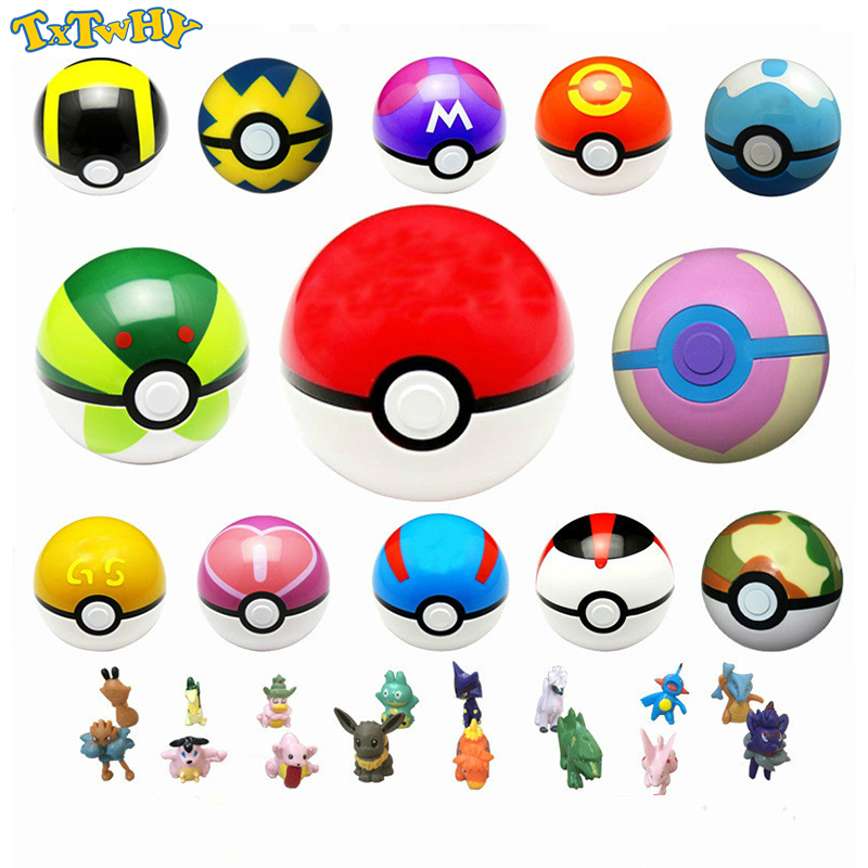 Pokeball Masterball Complete Collectibles Ball Toy 7CM 13pcs + Free Random Figures