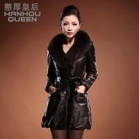 2013 Новый Женская натуральная кожаная куртка, элегантный тонкий лисий мех воротник овец кожаная куртка, кожа женская одежда Бесплатная дост